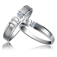 "Exquisite 2 Rings His & Hers Cubic Zirconia Promise Rings ""I Do"" Rings Sizes 5 to 14"