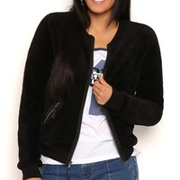 Sherpa Bomber Jacket with Zipper Pockets