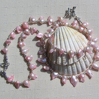 "Necklace & Bracelet Set, Pink Biwa Freshwater Pearl and Sterling Silver ""Flamboyance"""