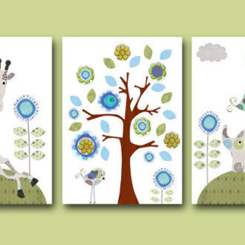 "Art for Children , Kids Wall Art, Baby Room Decor,Nursery print,set of 3 8"" x 10"" Print,flower,blue,giraffe,elephant,decoration,tree,birds"
