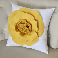 Mellow Yellow Rose on White Pillow by bedbuggs on Etsy