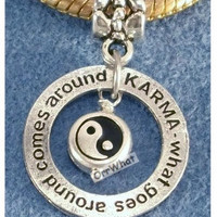 Karma Yin Yang Silver Charms Styles European Slide On OR Clip On to Chain OR Belly ring