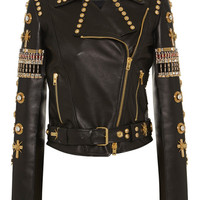 Fausto Puglisi Embroidered Leather Biker Jacket Black