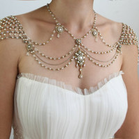 Necklace For The SHOULDERS, 1920s Style, Beaded Pearls And Rhinestone,Jazz Age,Antique Gold, OOAK Bridal Wedding Jewelry - Second Edition