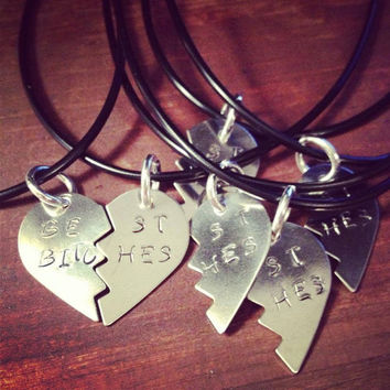 Silver Broken Hearts Stamped Best Bitches Attached to Black Cords Bridal Set