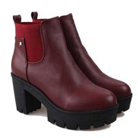 Stylish Women's Short Boots With Solid Color and Elastic Design