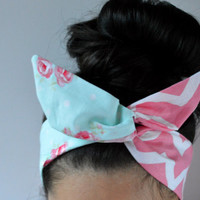 Spring Chevron Style Dolly Bow head band