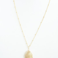Light Amber Hue Pebble Necklace