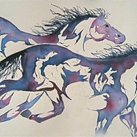 Horse Watercolor Print  'Runners' Mother's Day by JanetLongArts