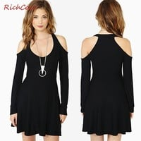 Richcoco RICHCOCO New Arrival Women Off the Shoulder Girl Dress Black Casual Dress A Line Spandex Dress Plus Size XS-XXL D221 - DinoDirect.com