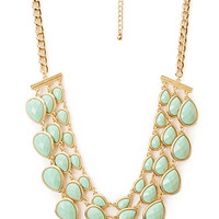 FOREVER 21 Elegant Teardrop Bib Necklace Mint/Gold One
