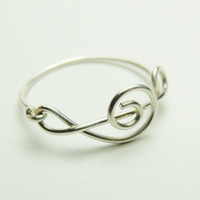 Treble Clef Ring - Music Note Sterling silver wire ring