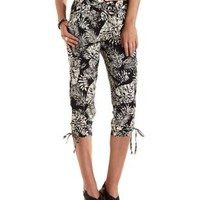 Black/White Cinched & Cropped Jogger Pants by Charlotte Russe