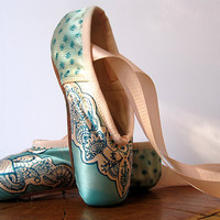 Mehndi Pointe Shoes, Teal and Pink, Hand Dyed