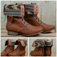 Southern Pines Whisky Tribal Fold Over Combat Boots