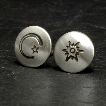 Sterling silver stud earrings with sun moon and star