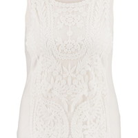 Plus Size - Embroidered Mesh Overlay Tank - Beige