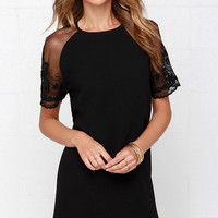 Earned It Black Lace Shift Dress