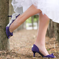 Wedding Shoes - Low Purple Heels, Purple Bridal Shoes with Ivory Lace. US Size 10