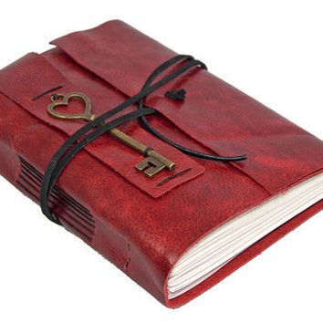 Red Leather Journal with Heart Key Bookmark