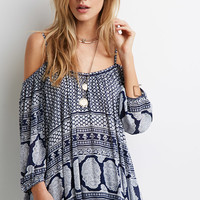 Open-Shoulder Brocade Print Top