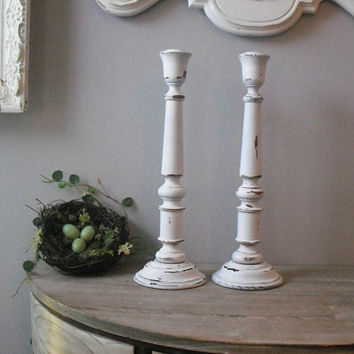 2 Tall upcycled WHITE shabby chic wooden candle sticks ... romantic cottage