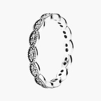 Women's PANDORA 'Sparkling Leaves' Band Ring - Silver/ Clear