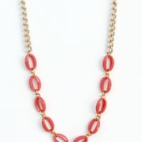 celia - vintage coral faceted acrylic and gold plated necklace