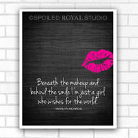 Marilyn Monroe Quote - Beneath the Makeup Art Poster - Black Textured Background with Pink Lips - 8x10 Print