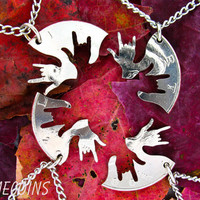 4 piece I love you hands 143 half dollar hand cut by NameCoins