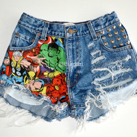 ALL SIZES Half Marvel Half Distressed & Studded High Waisted Shorts