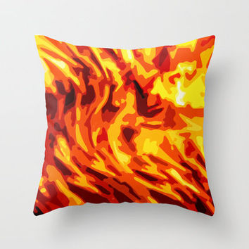 AFLAME Throw Pillow by catspaws