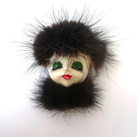 Vintage Brooch - Pin - Porcelain Woman Face in Fake Fur Hat