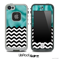 Mixed Turquoise Sheets and Chevron Pattern Skin for the iPhone 5 or 4/4s LifeProof Case