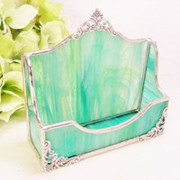 NEW SeaGreen Wispy Business Card Holder LOVE IT by MoreThanColors