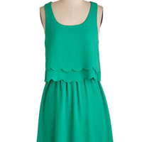 ModCloth Mid-length Sleeveless A-line Teach Me Your Sways Dress in Jade Green