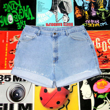 High Waisted Denim Shorts - 90s Light Wash Blue Jean Shorts - Frayed/Cuffed/Naturally Distressed WRANGLER BRAND Shorts Size 18 Plus Size xxl