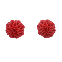 Red Dahlia Floral Enamel Post Earrings
