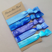 The Blue Sea Hair Tie Collection - 5 Elastic Hair Ties by Elastic Hair Bandz