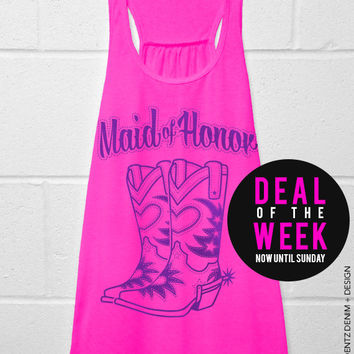 Cowgirl Boots Maid of Honor - Pink with Purple Flowy Racerback Tank