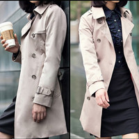 Double breasted trend coat for women, figure flattering Polo collar women jacket