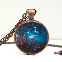 Space Sparkle Necklace : Glass Art Jewelry Picture Pendant Photo Pendant Handcrafted Jewelry by Lizabettas (1064)