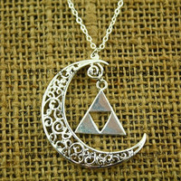 the silver new moon necklace cute The legend of Zelda jewelry steampunk style victorian jewelry vintage inspired