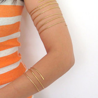 Brass arm coil, gold below the elbow cuff, tribal fusion brass armlet, gift under 30