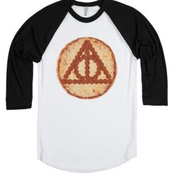 Deathly Hallows Pizza-Unisex White/Black T-Shirt