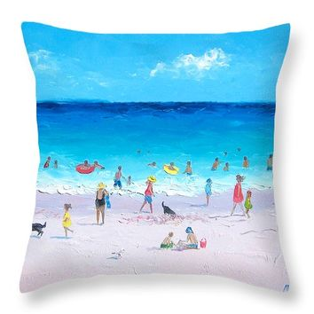 "Sunday at the Beach Throw Pillow 14"" x 14"""