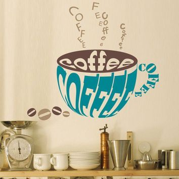 Vinyl Wall Decal Sticker Art Coffee by wordybirdstudios on Etsy