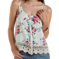 Green Combo Button-Up Floral Print Tank Top by Charlotte Russe