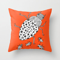 Orange Bugs Throw Pillow - Double Sided Throw Pillow - Faux Down Insert - Illustrated Pillow Cover