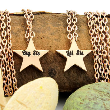 """Sister Necklace Big Sis Lil Sis Necklace, Sister Star Necklace with 18""""chains Perfect gifts for sisters"""